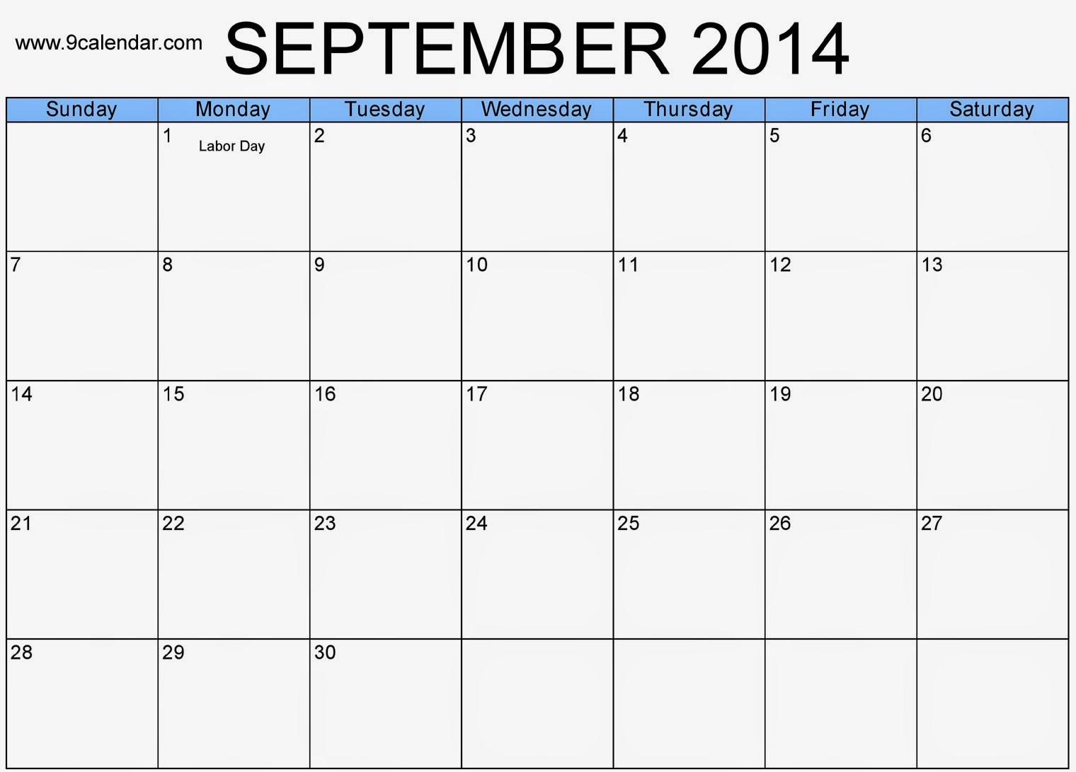 Free Printable Calendar 2018 Download September 2014 Calendar
