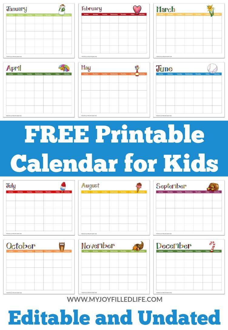 Free Printable Calendar For Kids Editable Undated