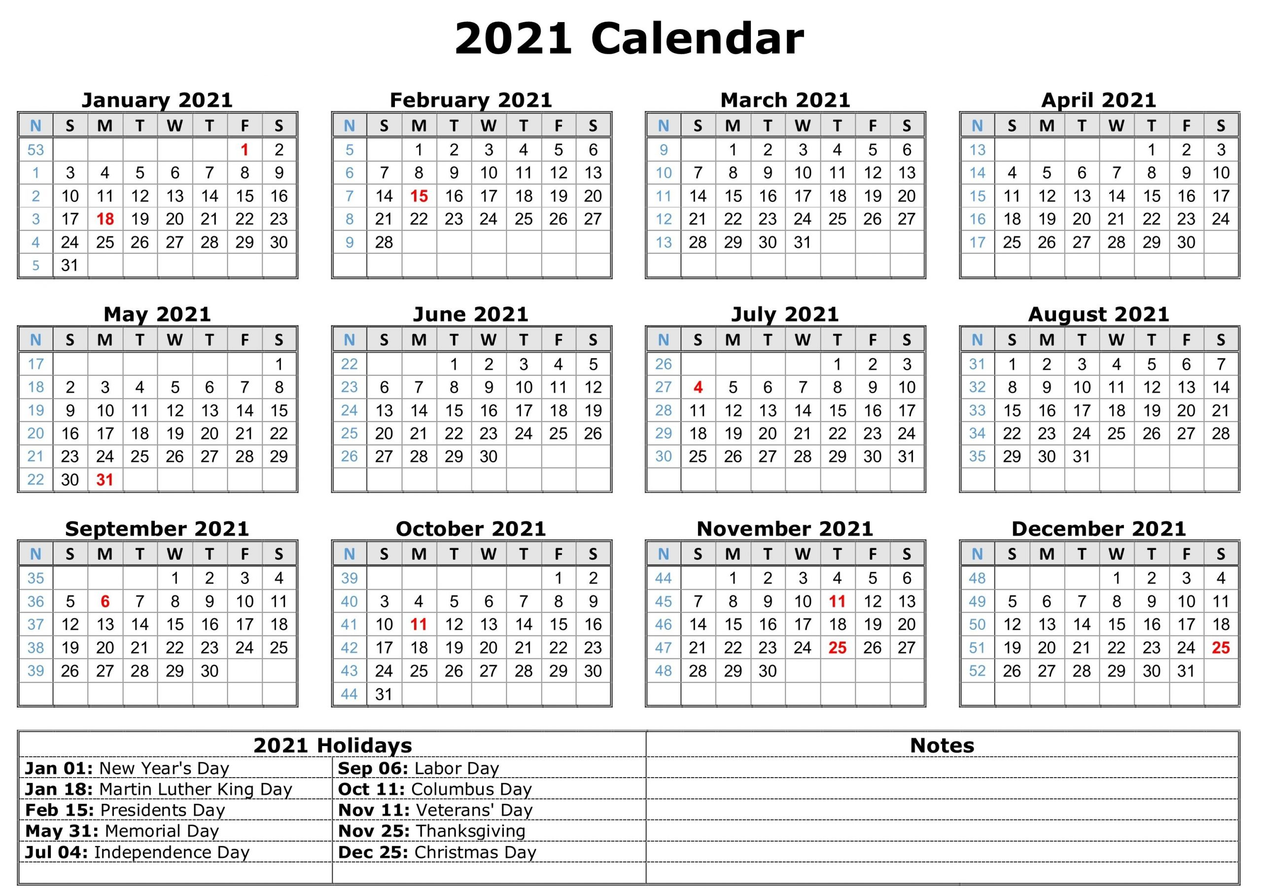 Free Printable Calendar Year 2021 Calendar Printables 1