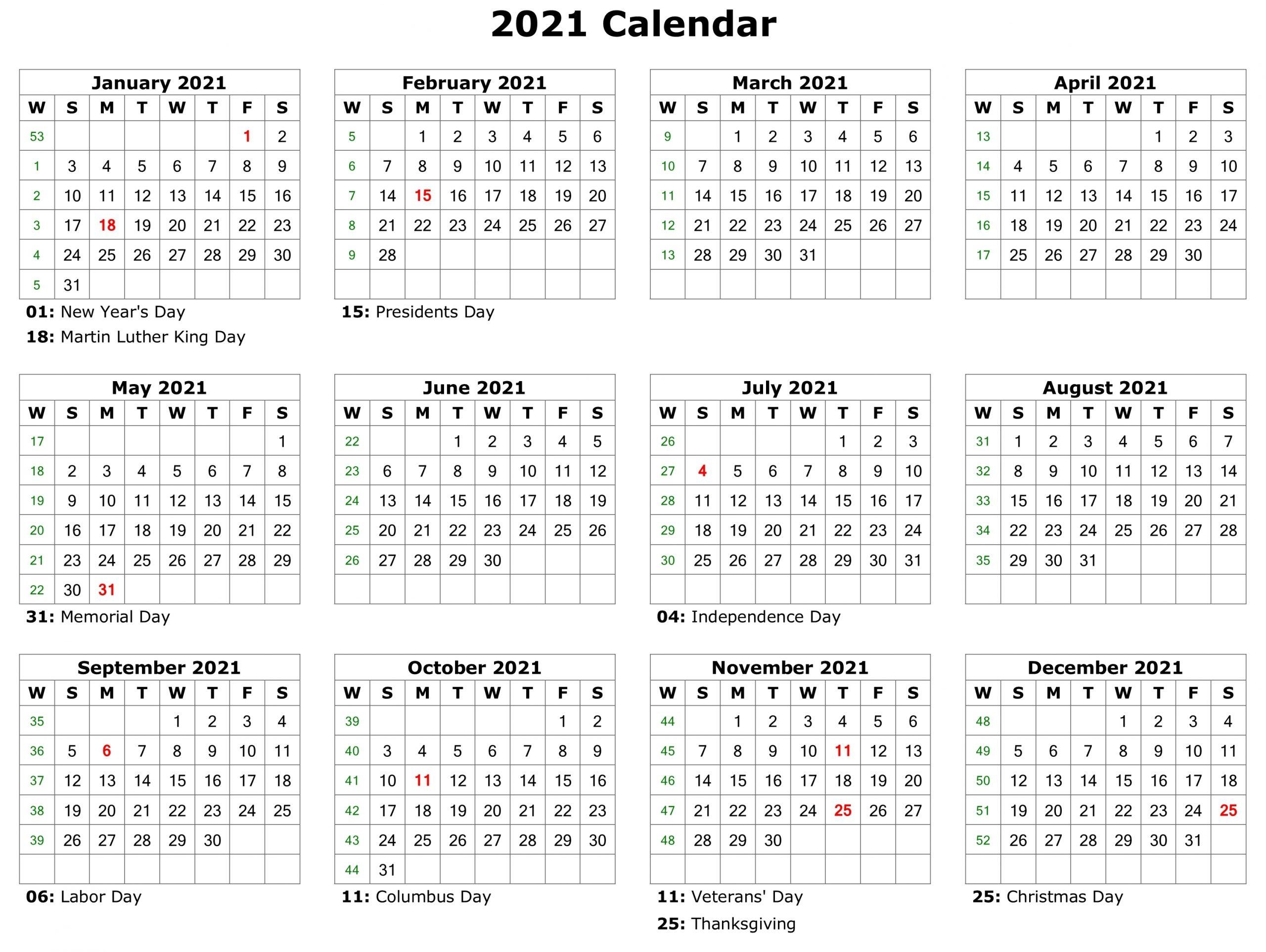 Free Printable Calendar Year 2021 Calendar Printables 3