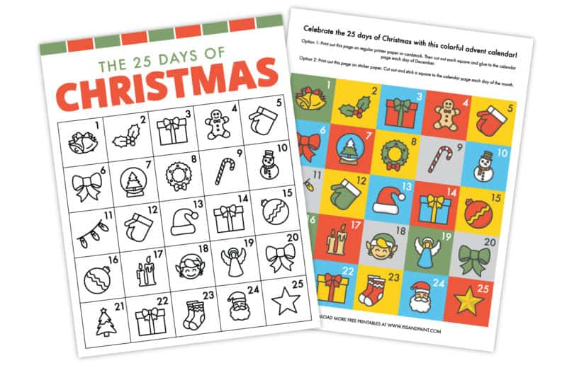 Free Printable Christmas Advent Calendar Pjs And Paint