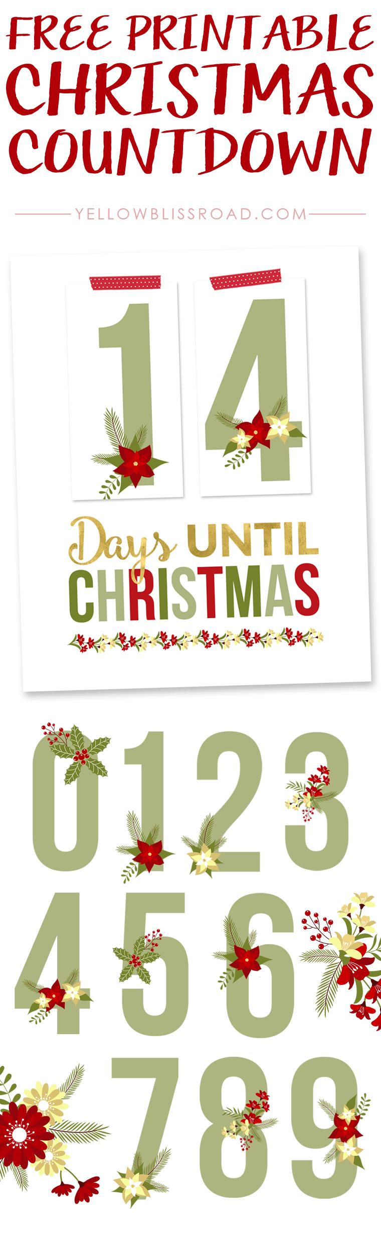 Free Printable Christmas Countdown Free Christmas