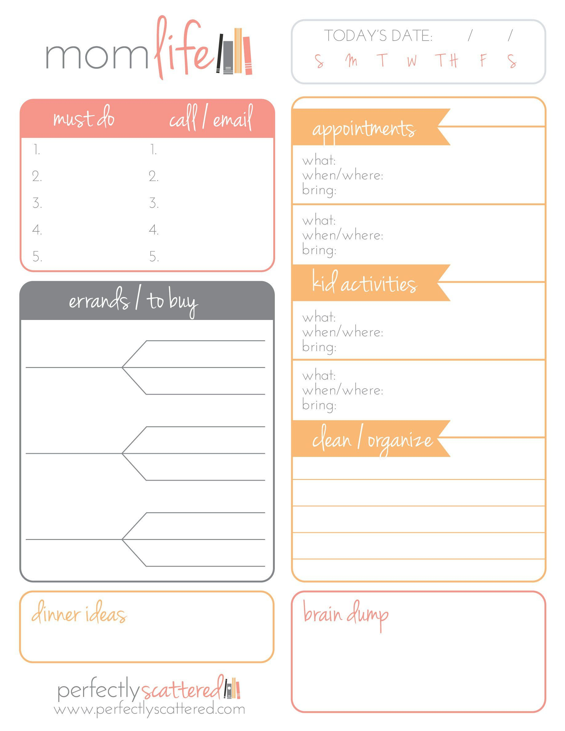 free printable daily planner for moms money saving mom