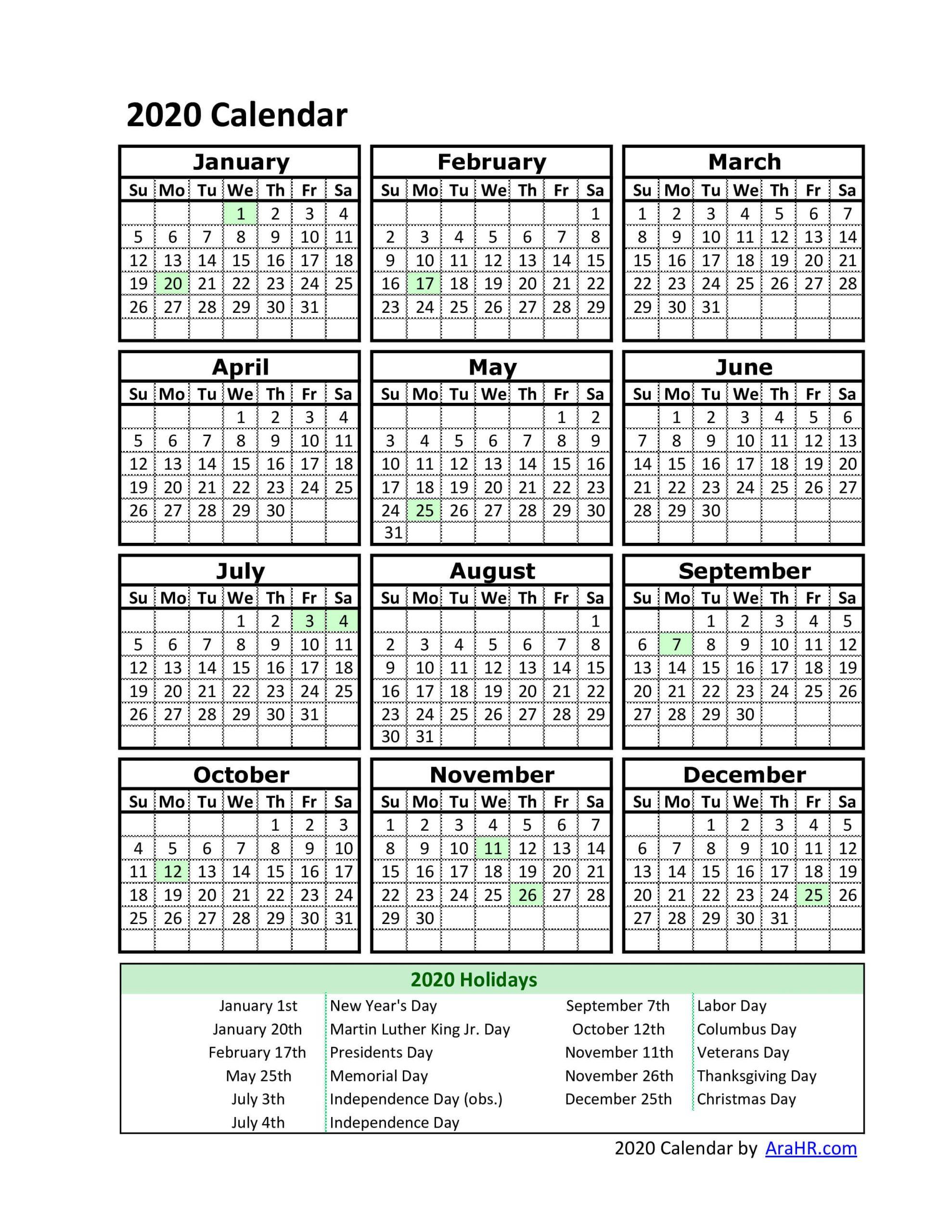 Free Printable Employee Calendar 2020 Calendar