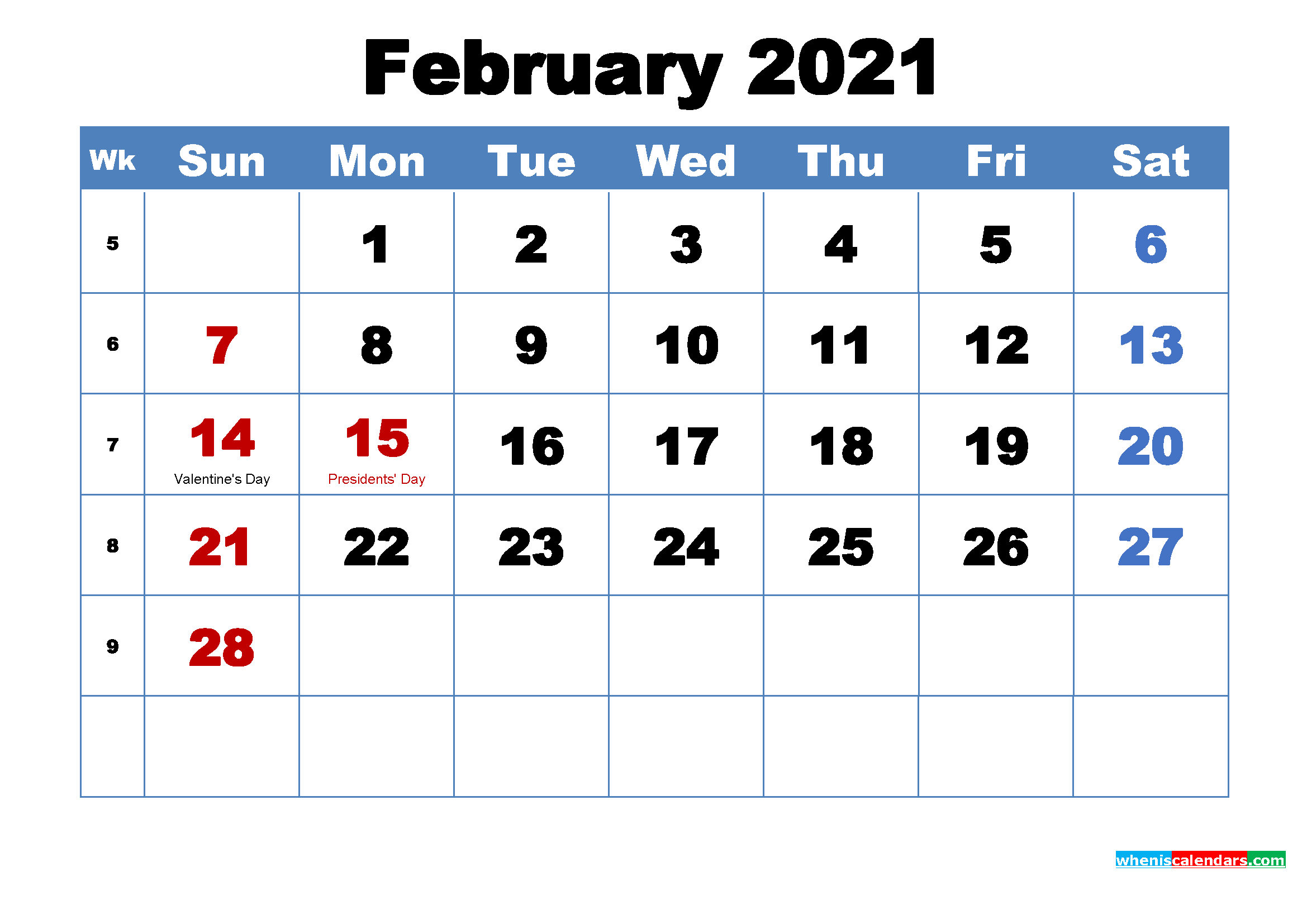 Free Printable February 2021 Calendar With Holidays Free