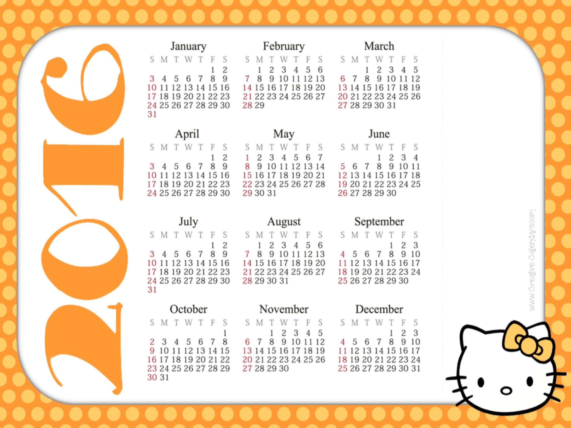 Free Printable Hello Kitty Calendars 1