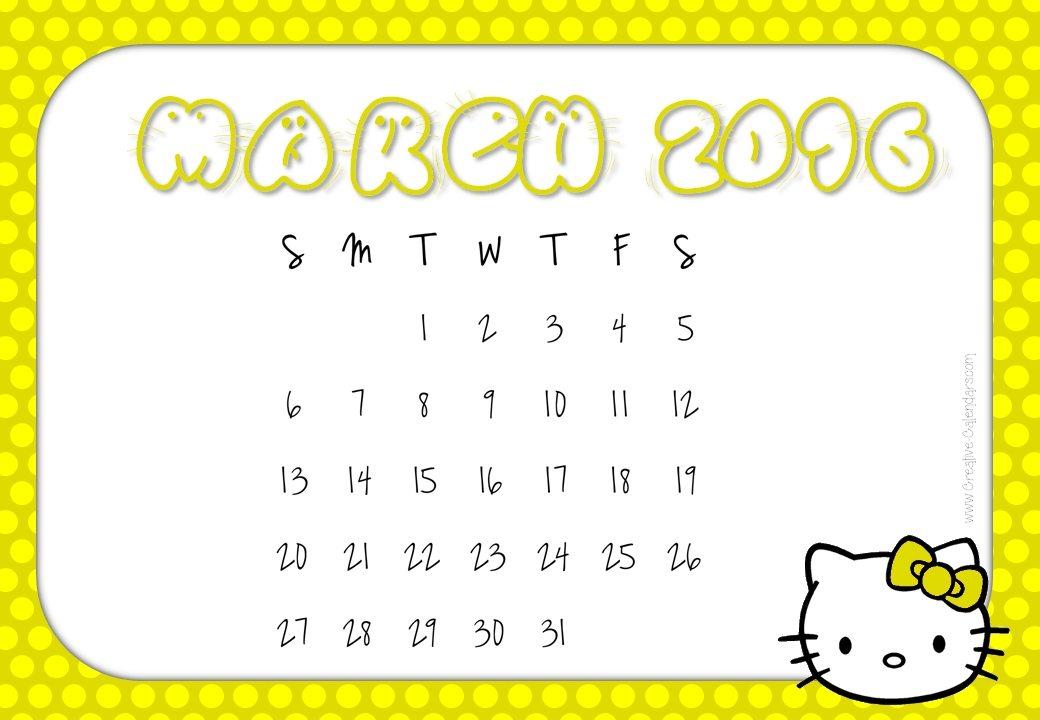 Free Printable Hello Kitty Calendars 2