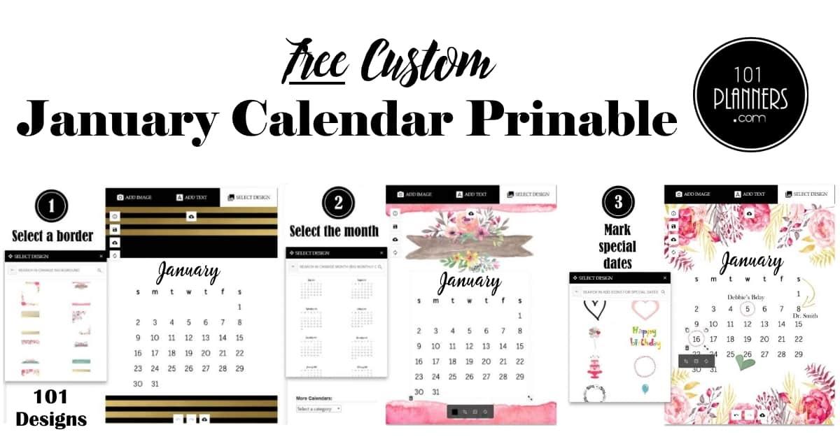 Free Printable January 2021 Calendar Customize Online 1