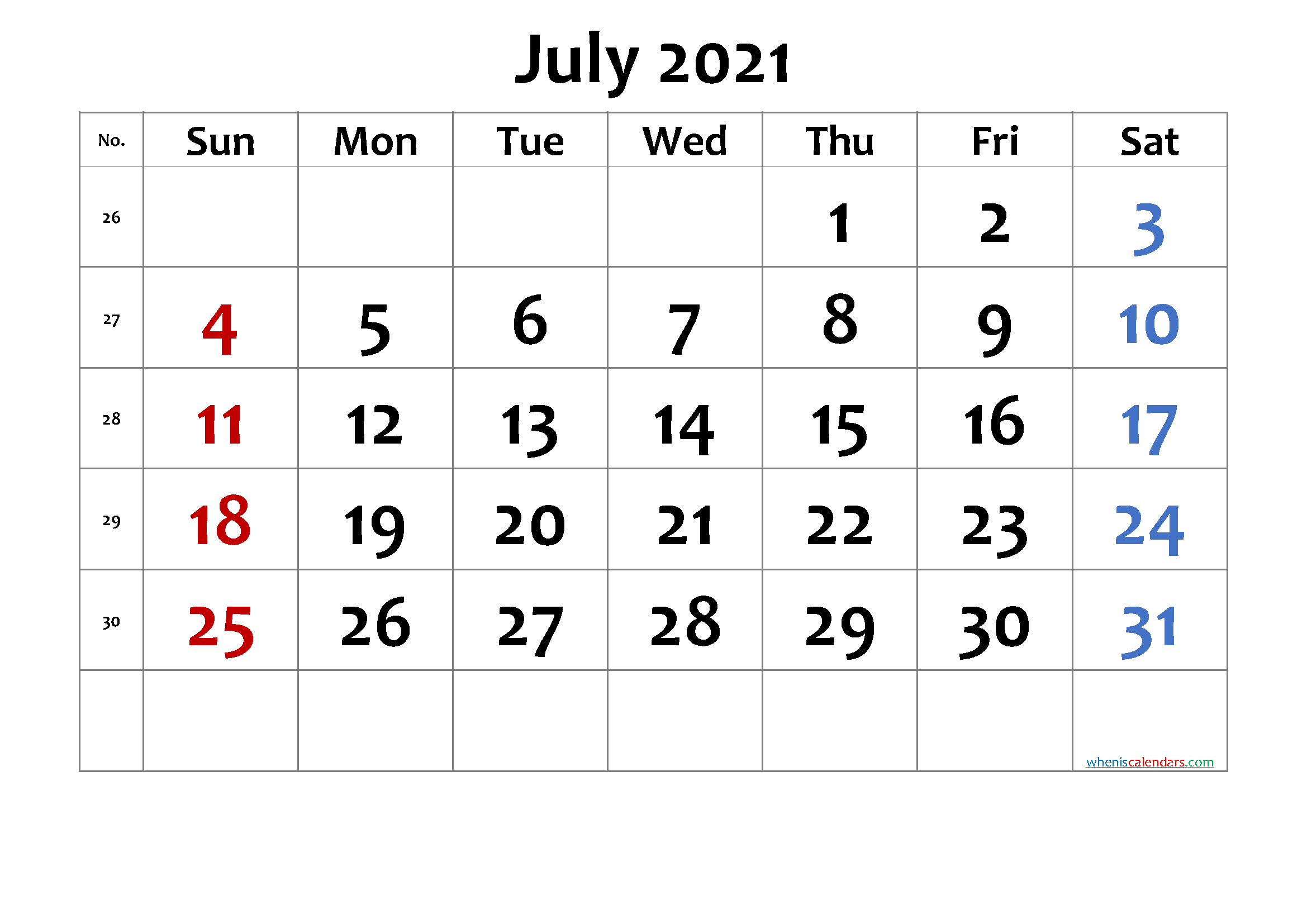 Free Printable July 2021 Calendar 6 Templates Free