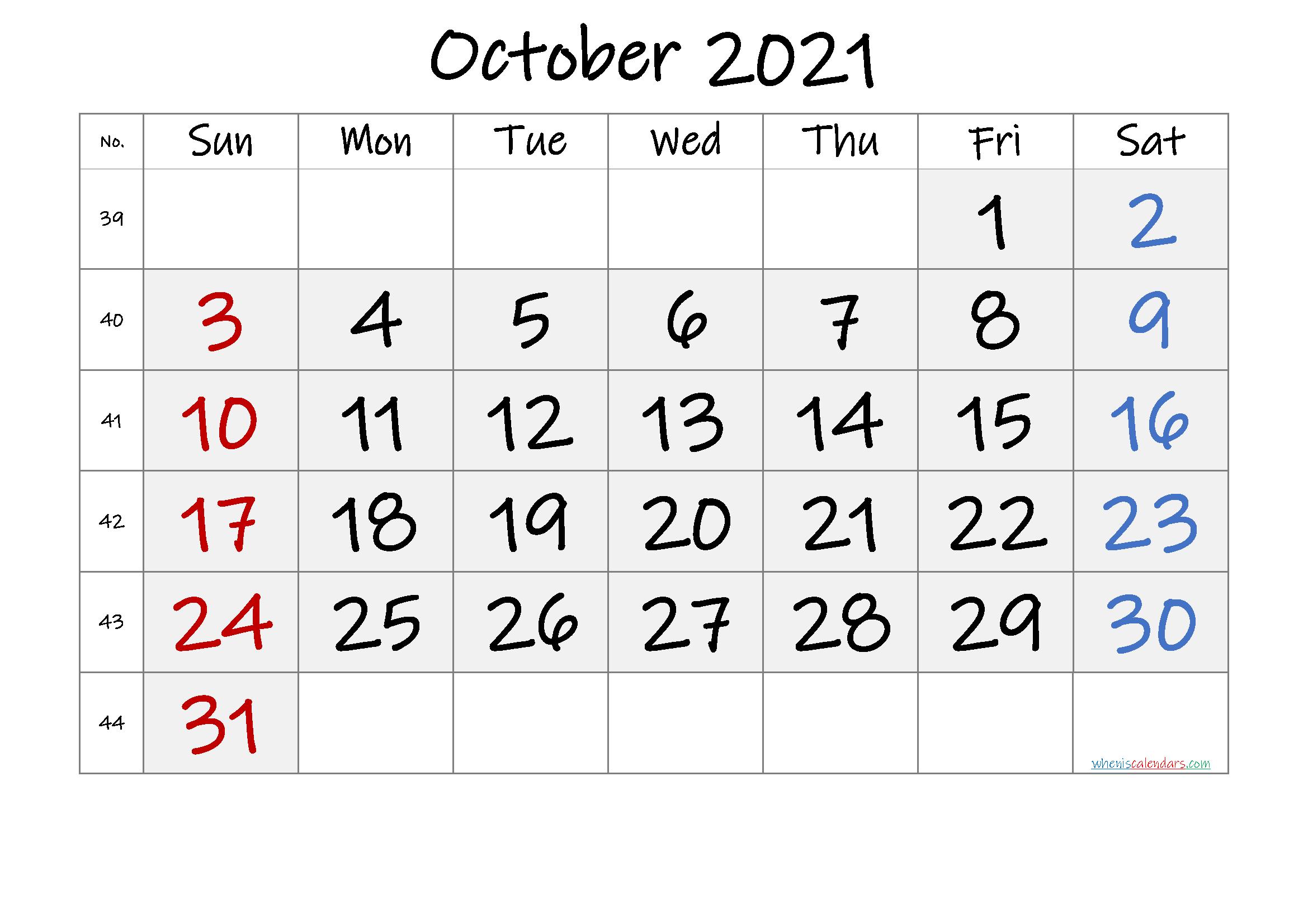 Free Printable October 2021 Calendar Free Premium In