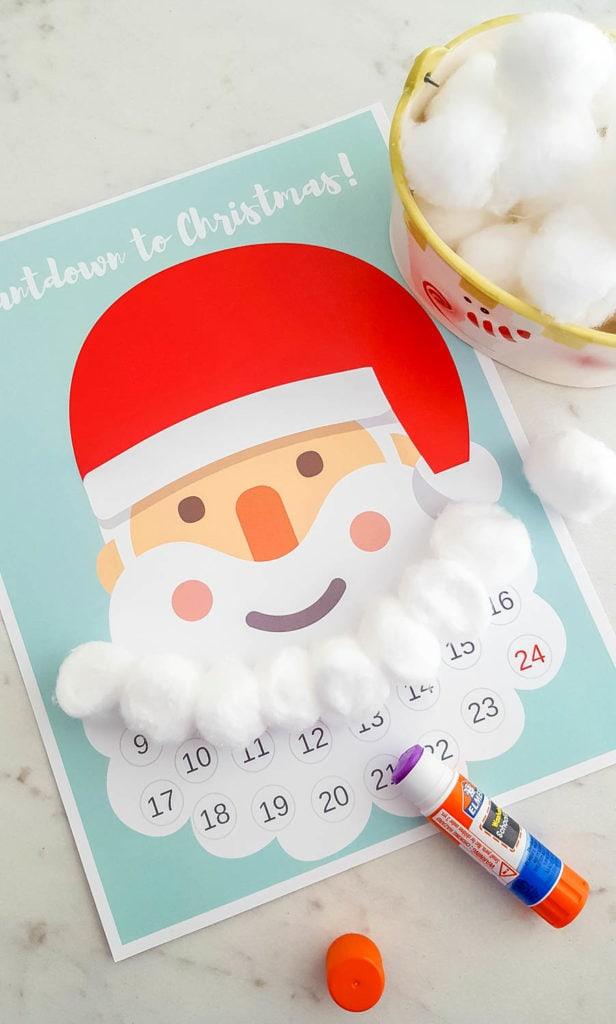 Free Printable Santa Beard Advent Calendar Diy Countdown