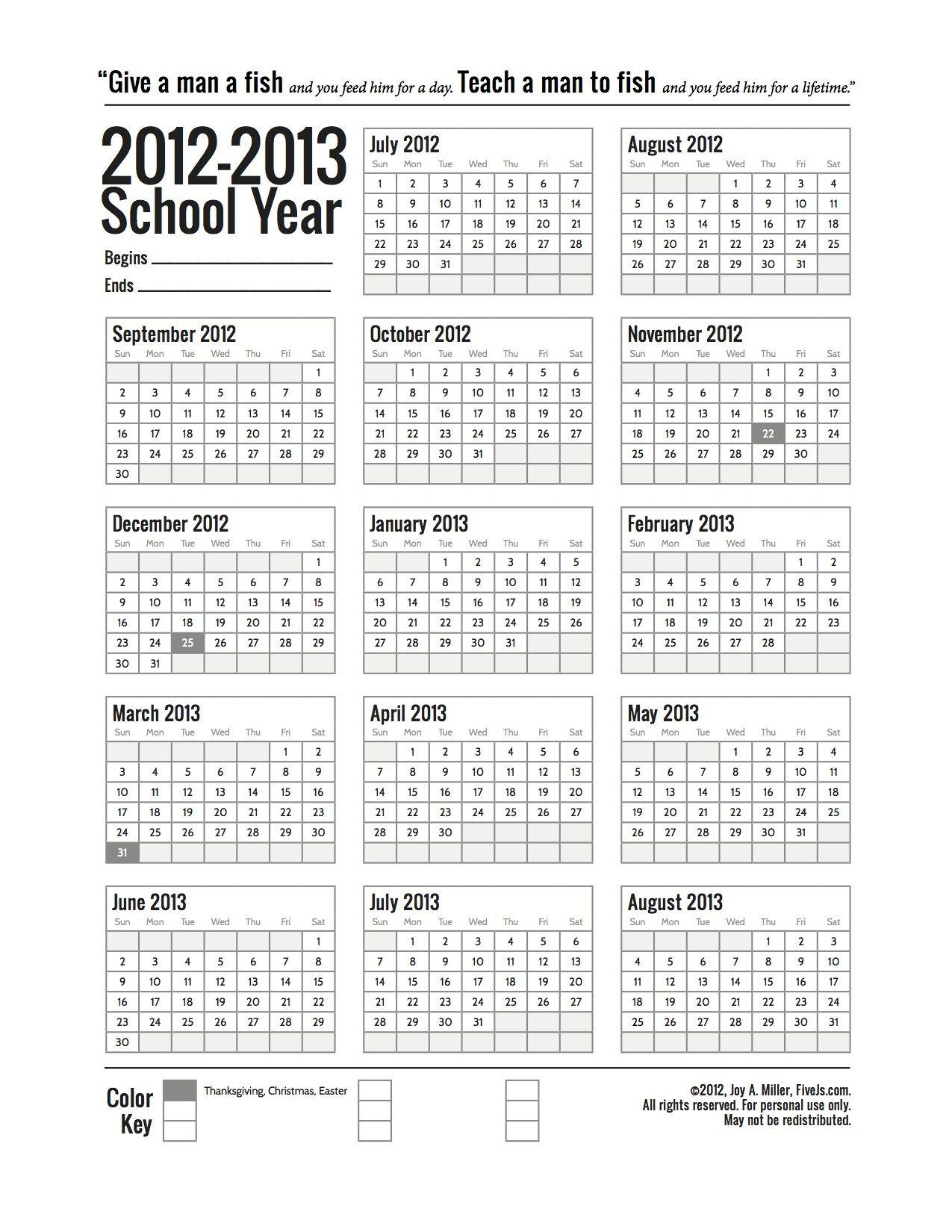 Free Printable School Calendar For 2019 2020 School