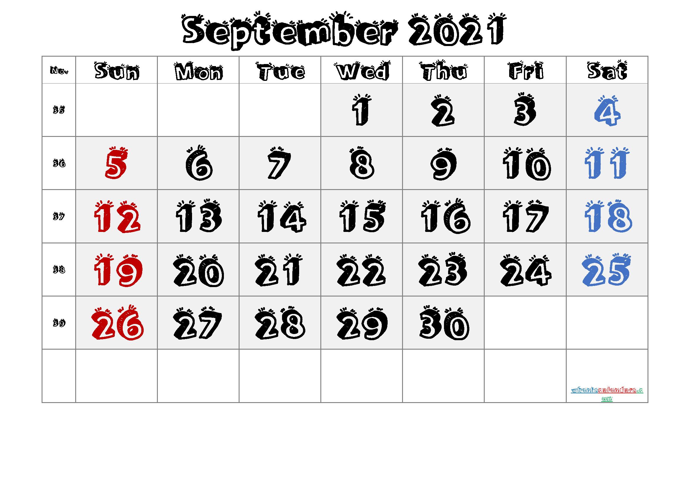 Free Printable September 2021 Calendar Premium In 2020