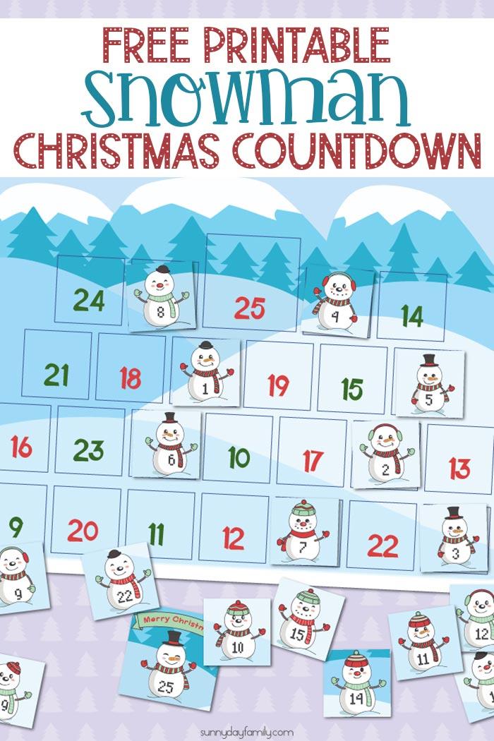 Free Printable Snowman Christmas Countdown Calendar For