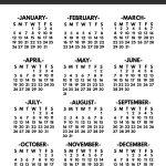 Free Printable Year At A Glance Calendar 2020 Calendar