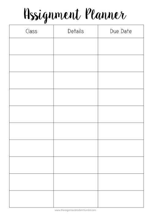 Free Printables The Organised Student