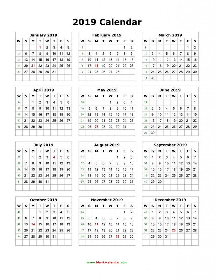 Get 12 Month One Page Calendar Template For 2019 12