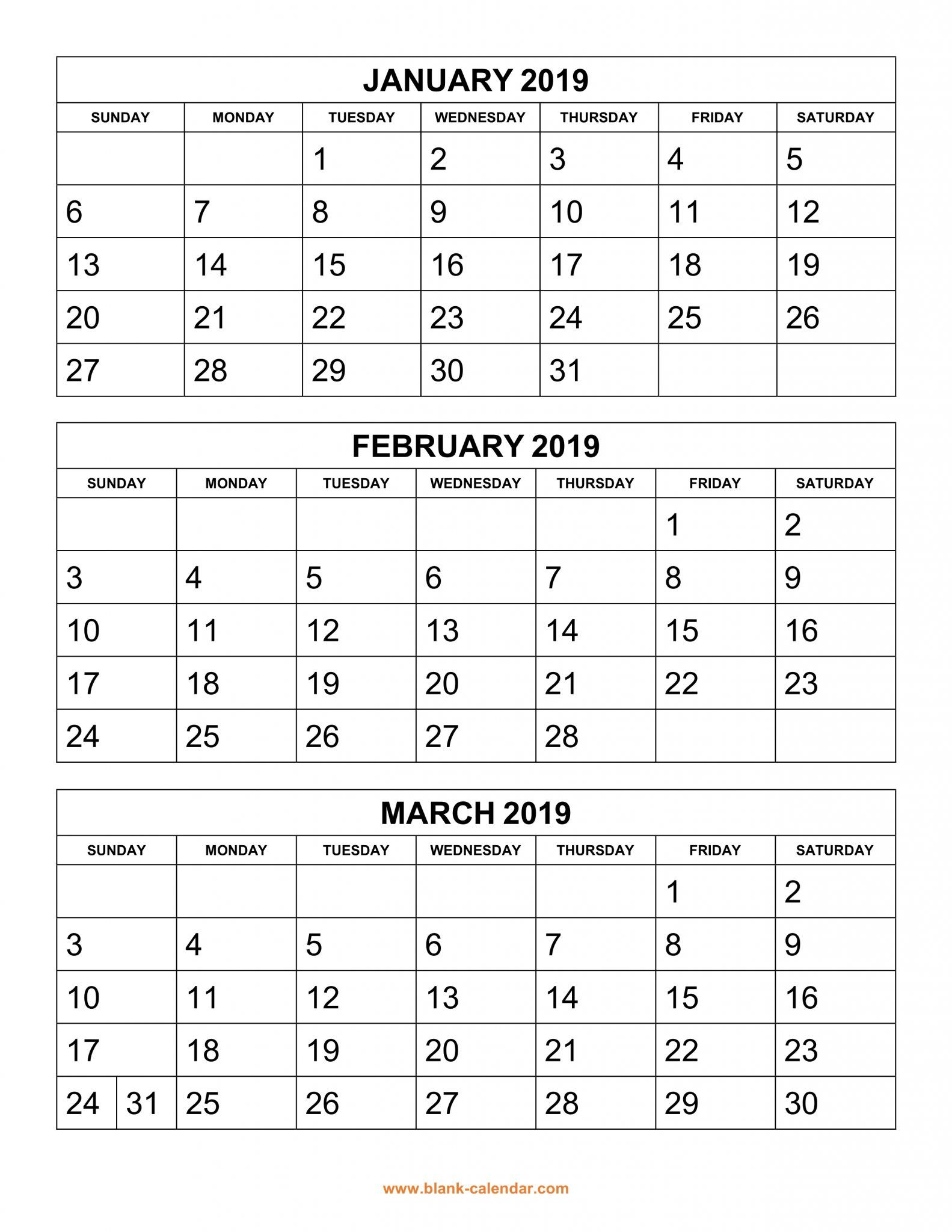 Get Free 2019 3 Month Calendar Templates Printable