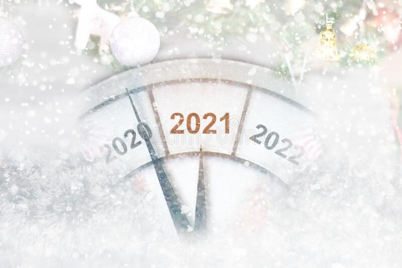 Happy New Year 2021 With Clock Stock Image Image Of