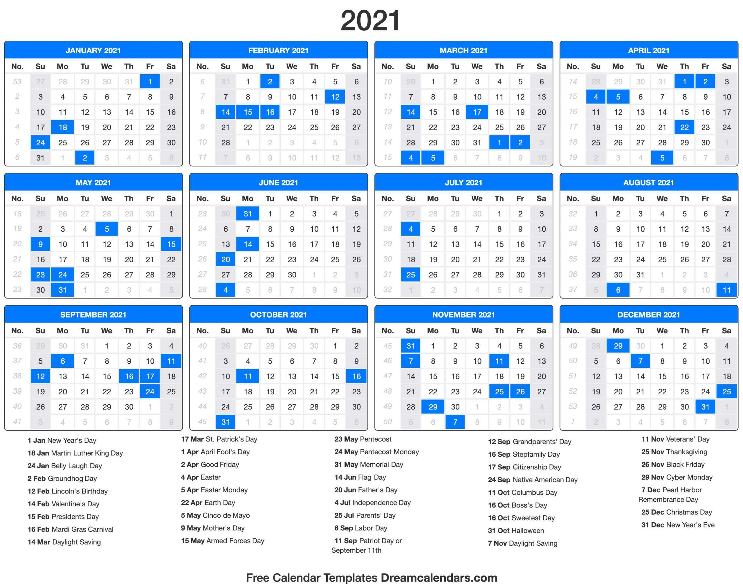 Holiday Calendar 2021 2020calendartemplates