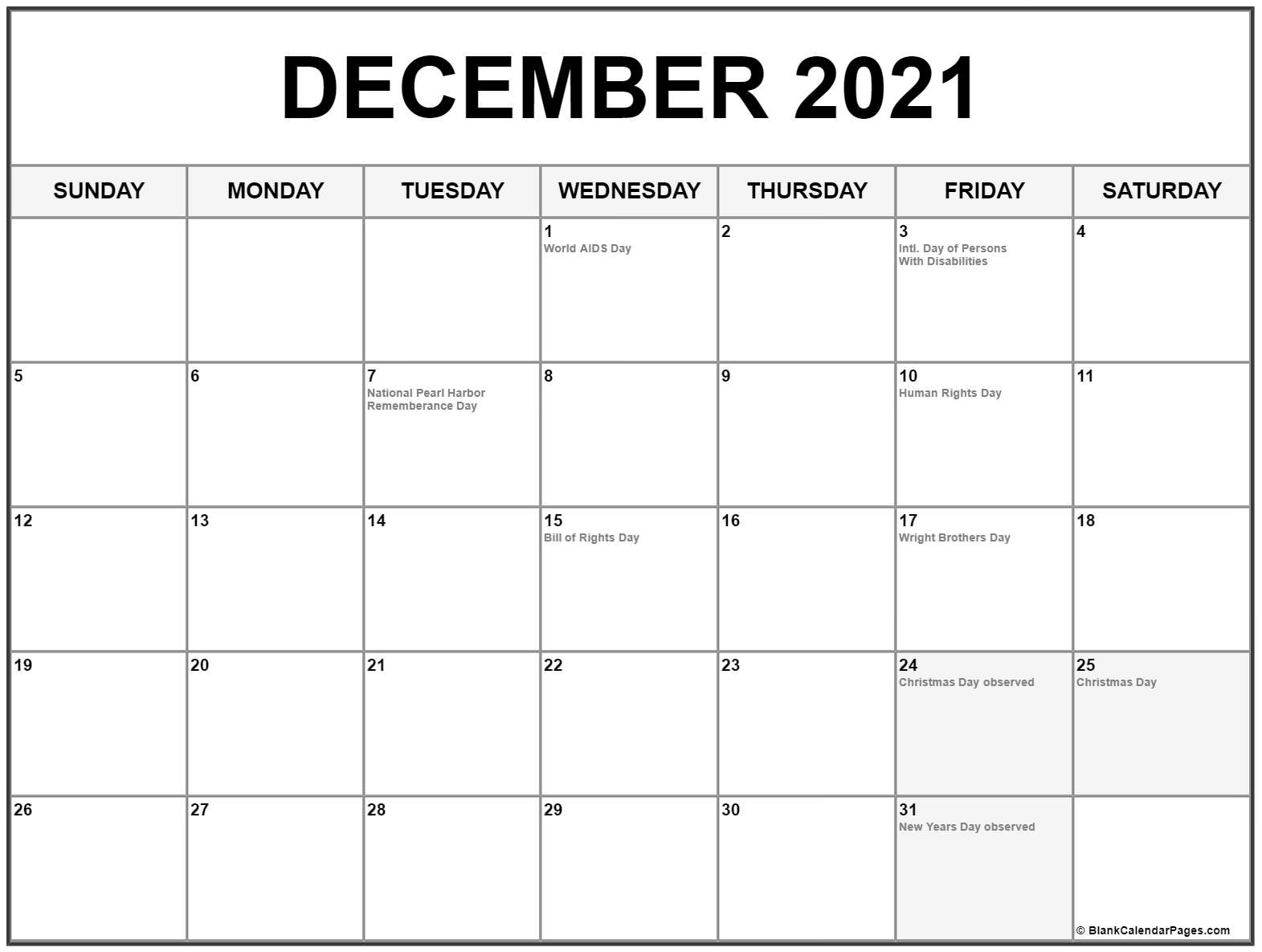 Holiday Calendar December 2021 2021 Calendar