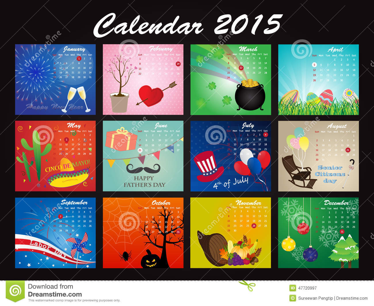 Holiday Calendar Of 2015 Stock Vector Image 47720997