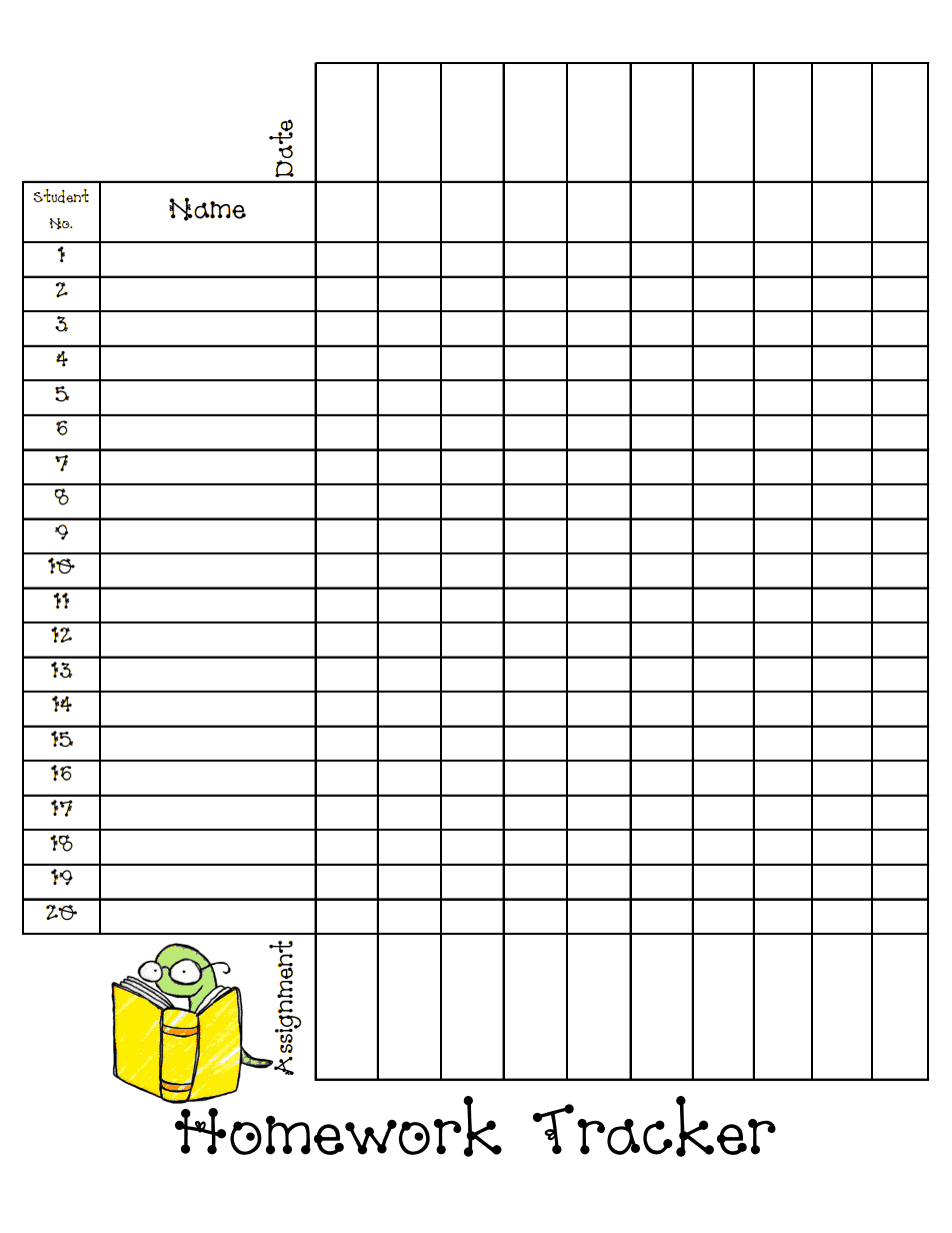 Homework Tracker Sheet Blog Pdf Homework Organization