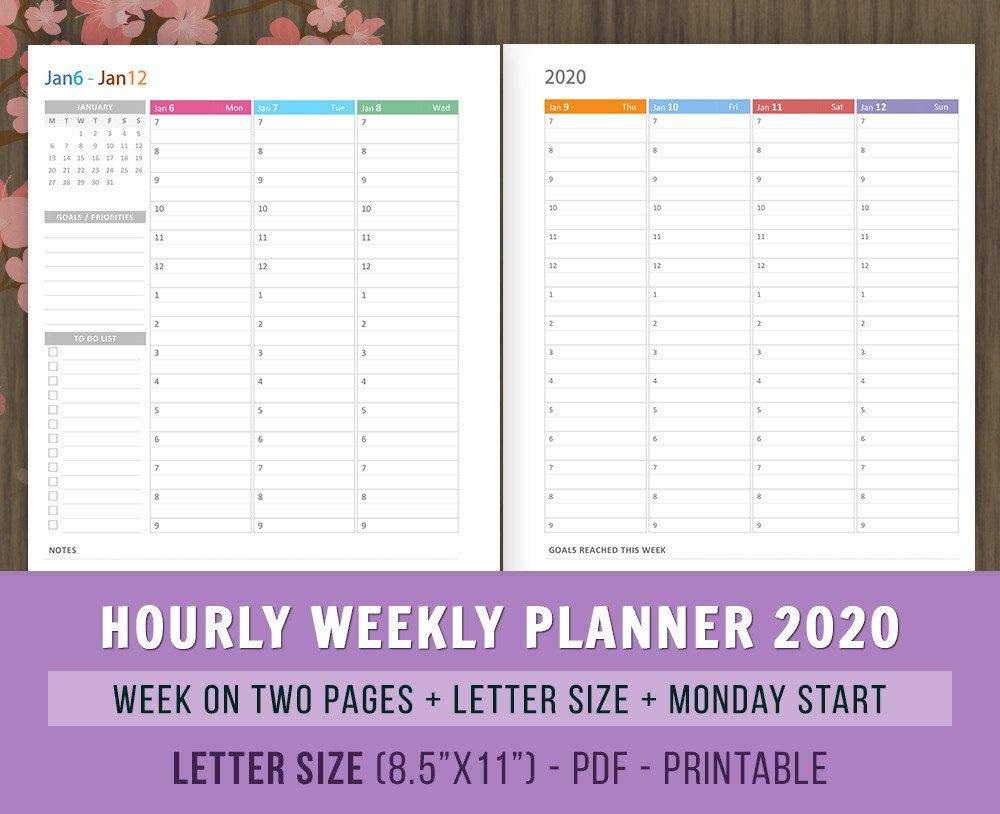Hourly Weekly Calendar 2020 Printable Example Calendar