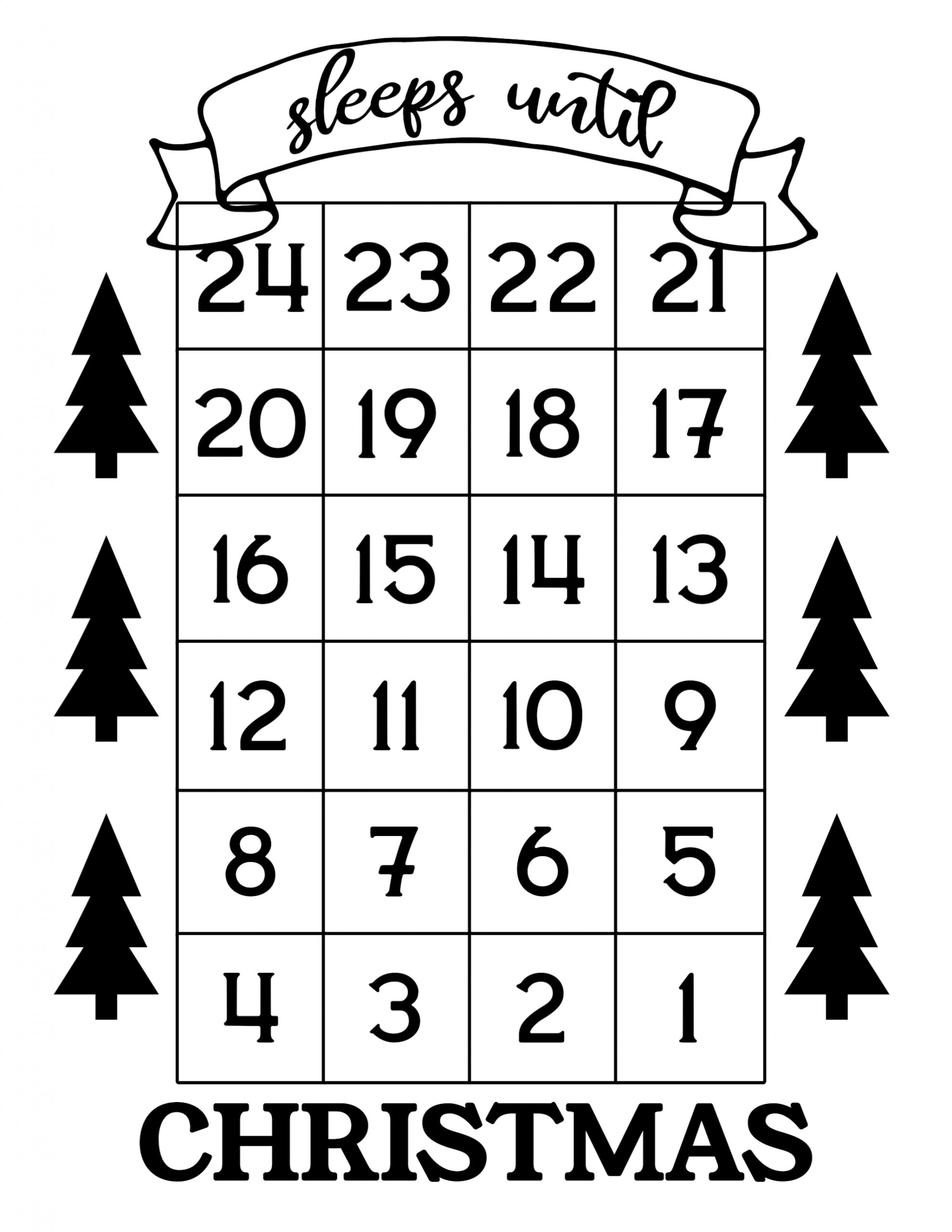 How Many Days Until Christmas Free Printable Paper Trail