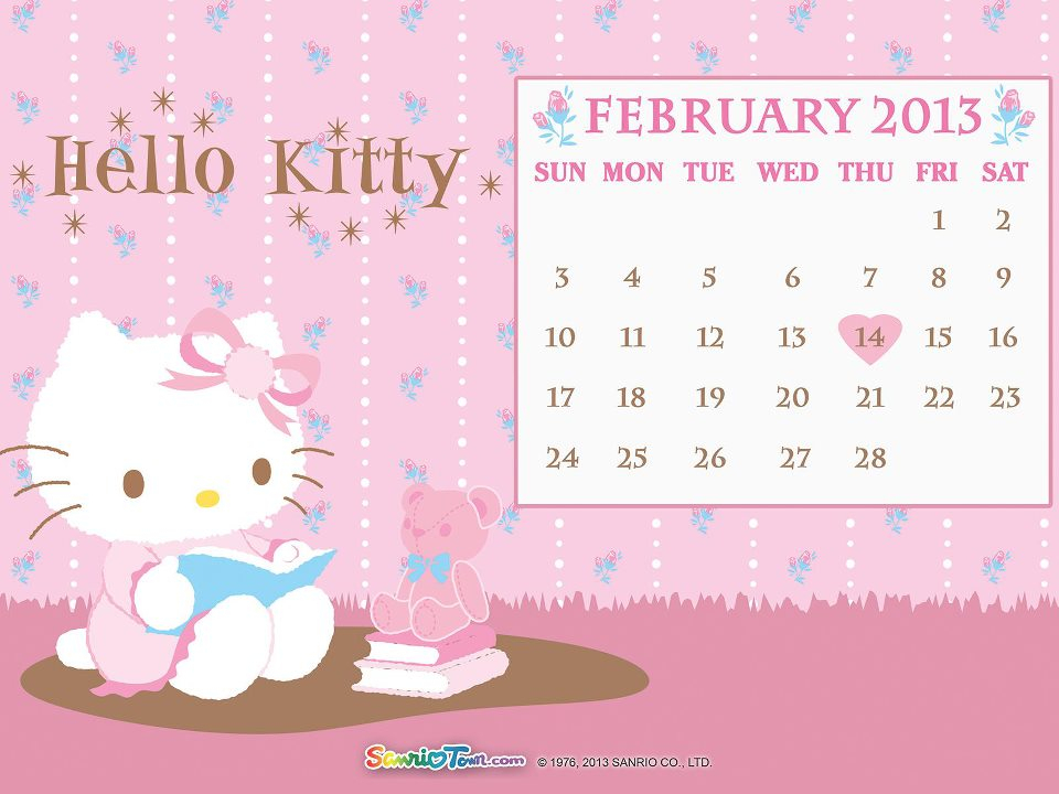 I Love Kawaii February 2013 Printable Calendars