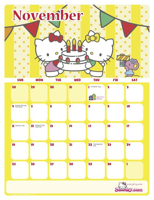 I Love Kawaii Sanrio November 2012 Calendar 1