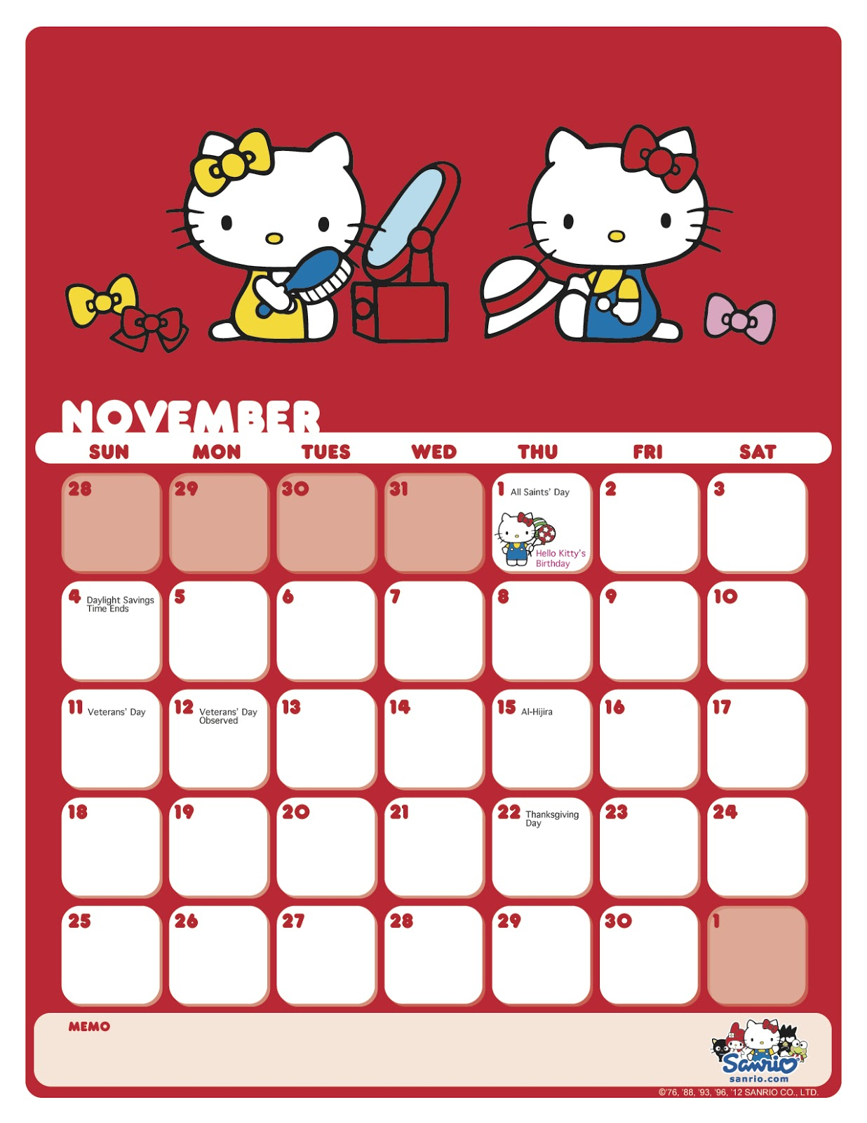 I Love Kawaii Sanrio November 2012 Calendar