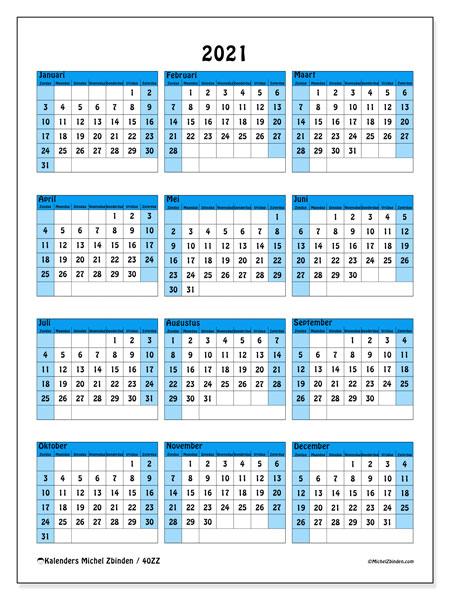 Jaarlijkse Kalenders 2021 Zz Michel Zbinden Nl