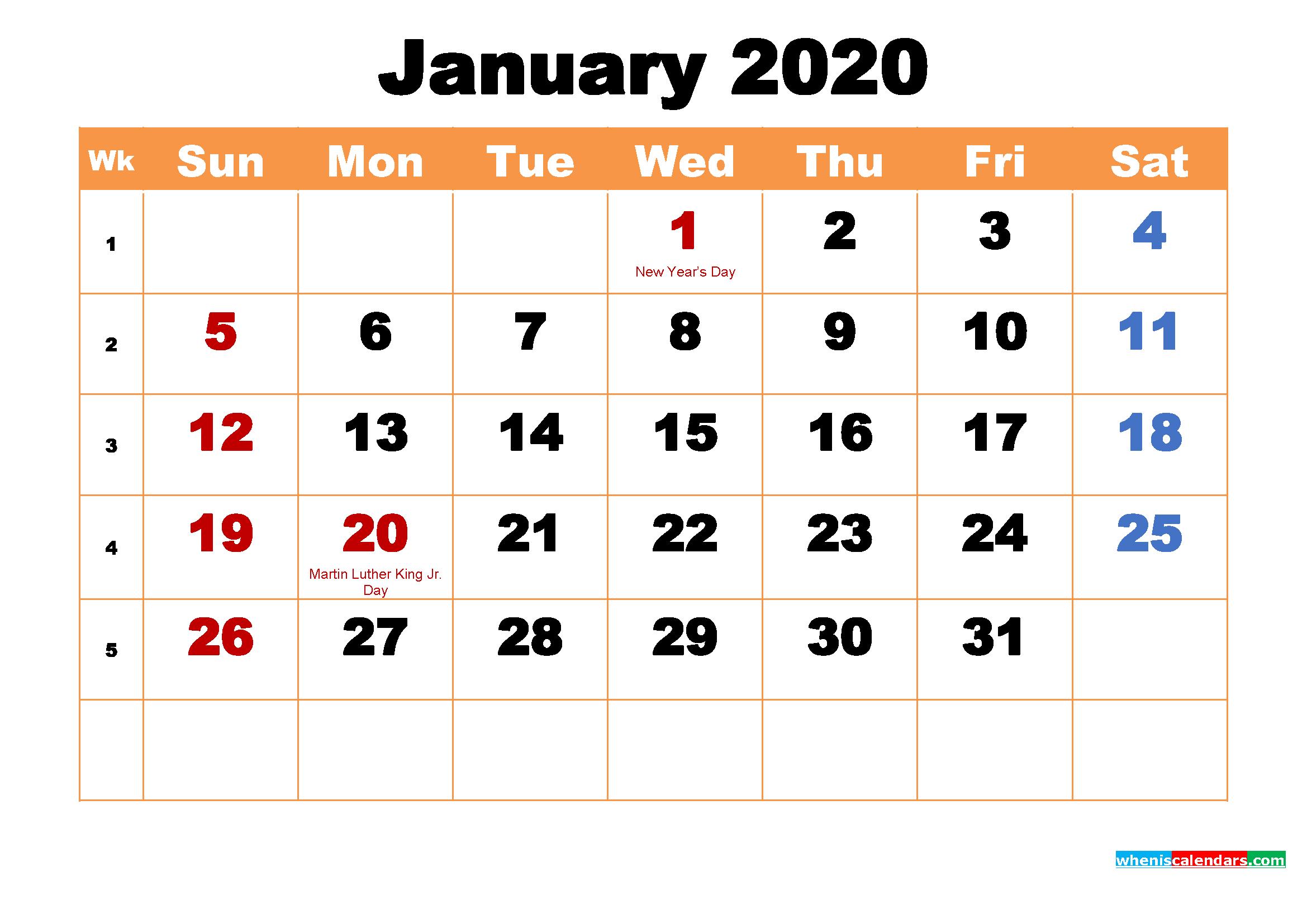 January 2020 Calendar Wallpaper High Resolution Free