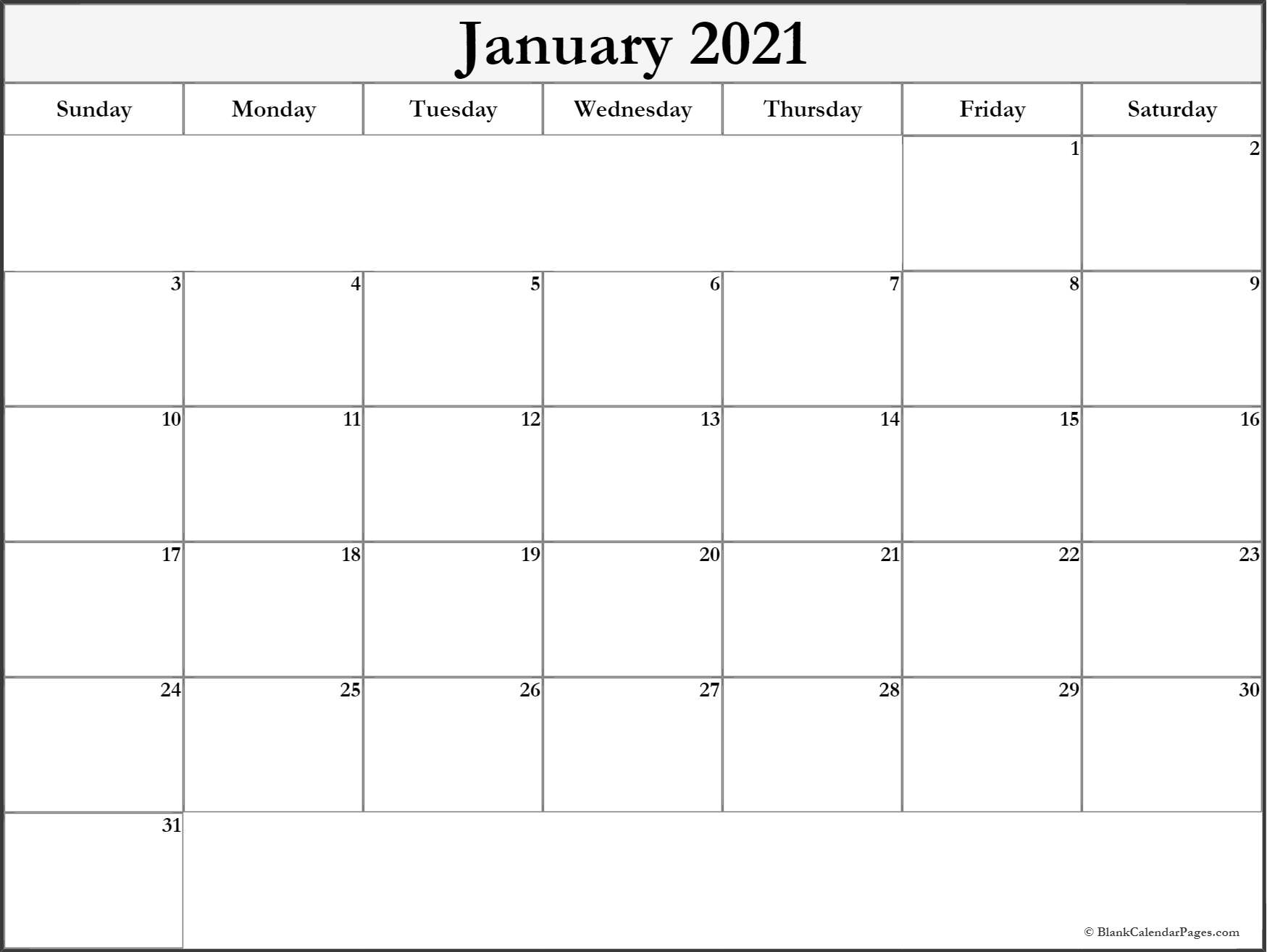 January 2021 Blank Calendar Collection 10