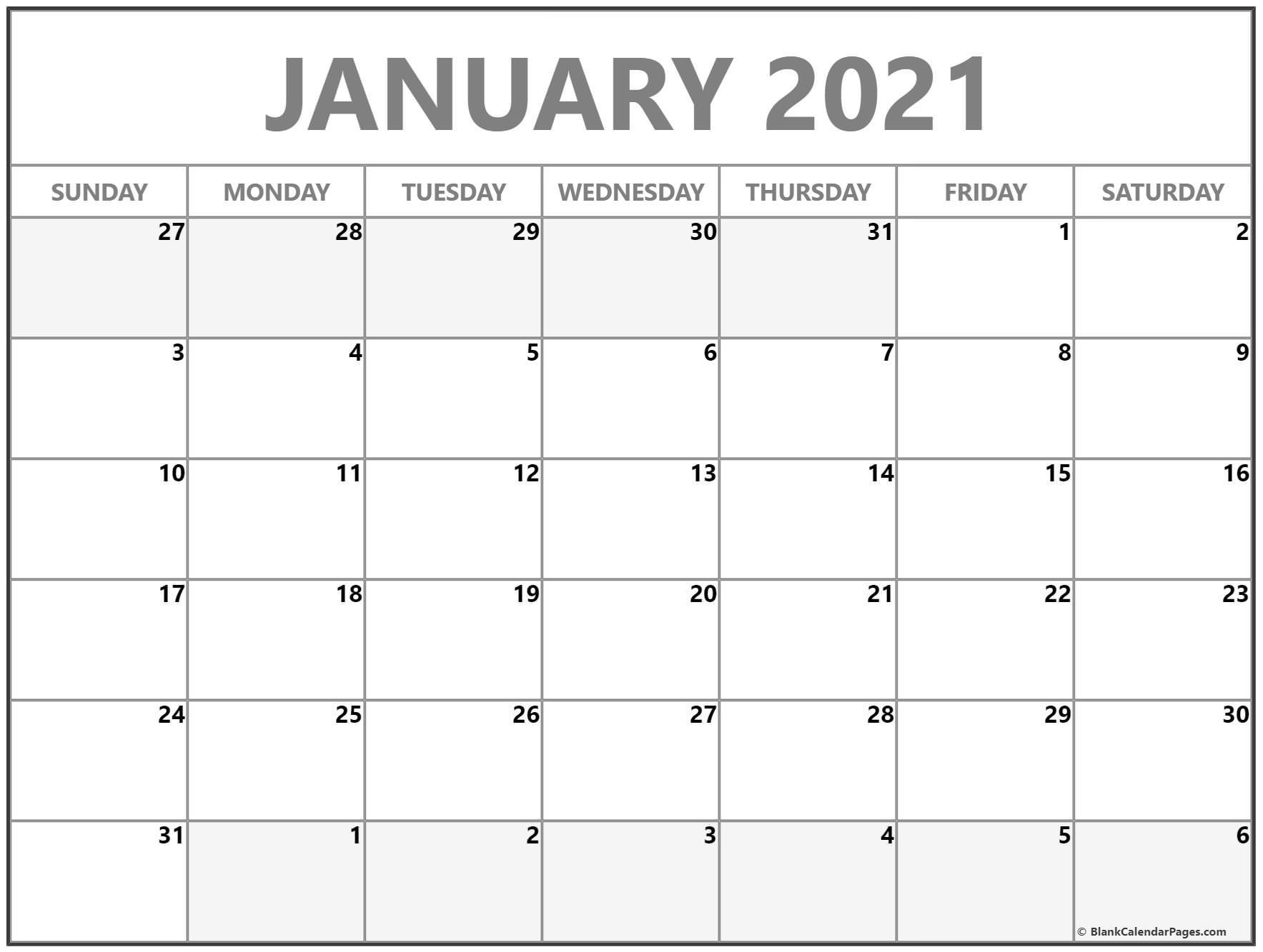 January 2021 Blank Calendar Collection 3