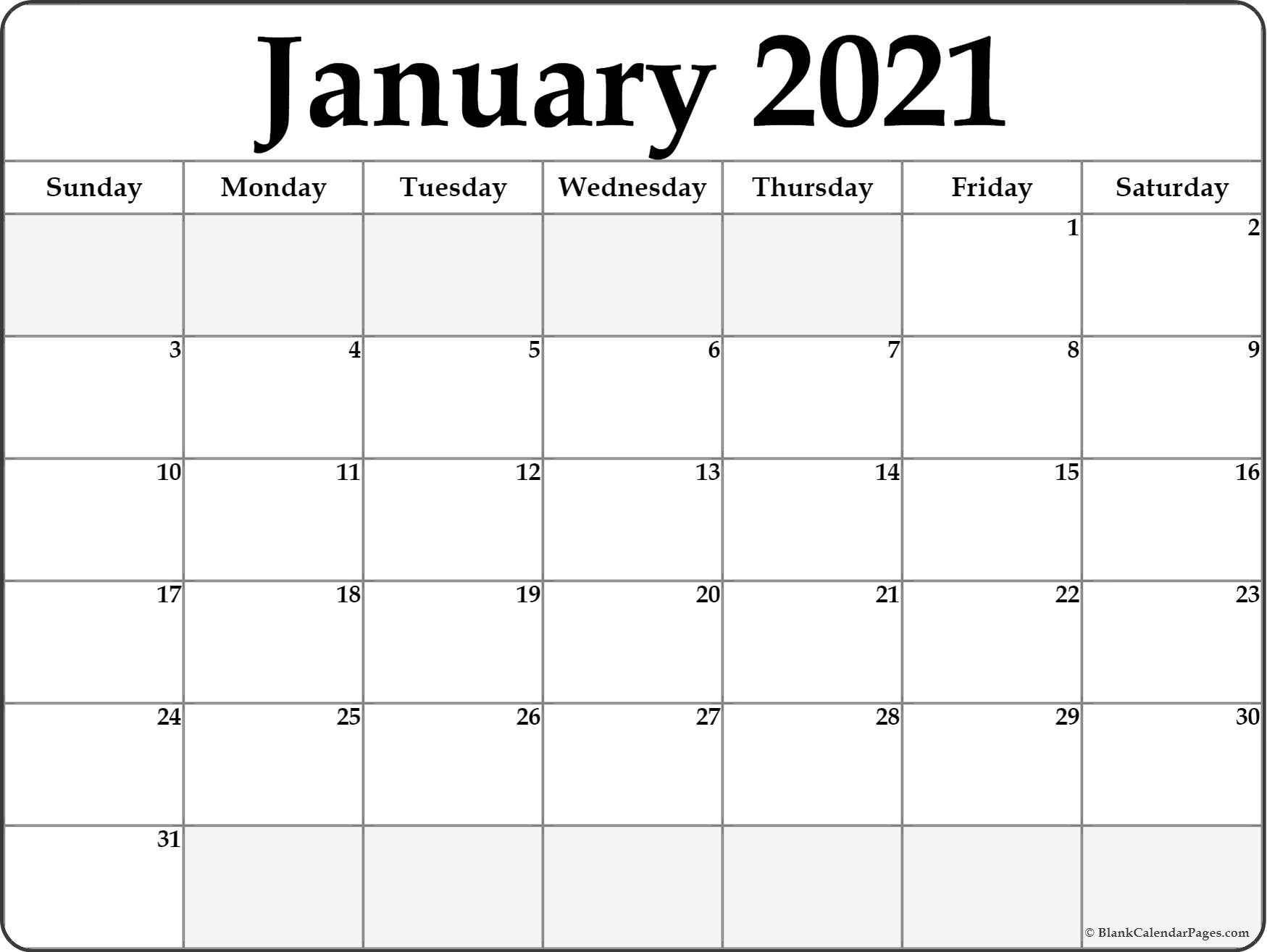 January 2021 Blank Calendar Collection