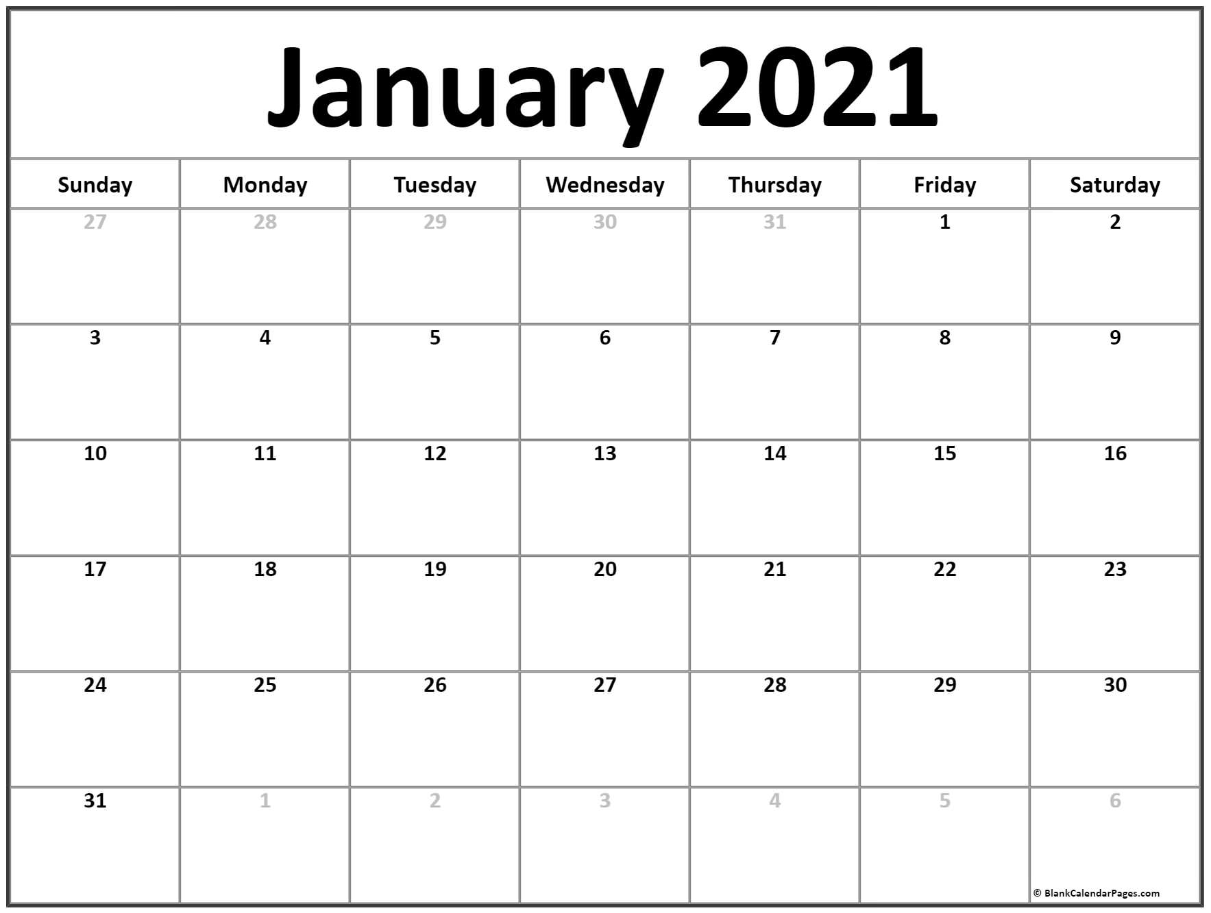 January 2021 Calendar 56 Templates Of 2021 Printable 1