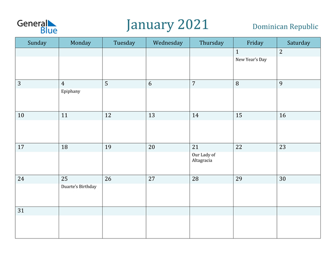 January 2021 Calendar Dominican Republic 1
