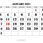 January 2021 Calendar Free Download Printable Calendar