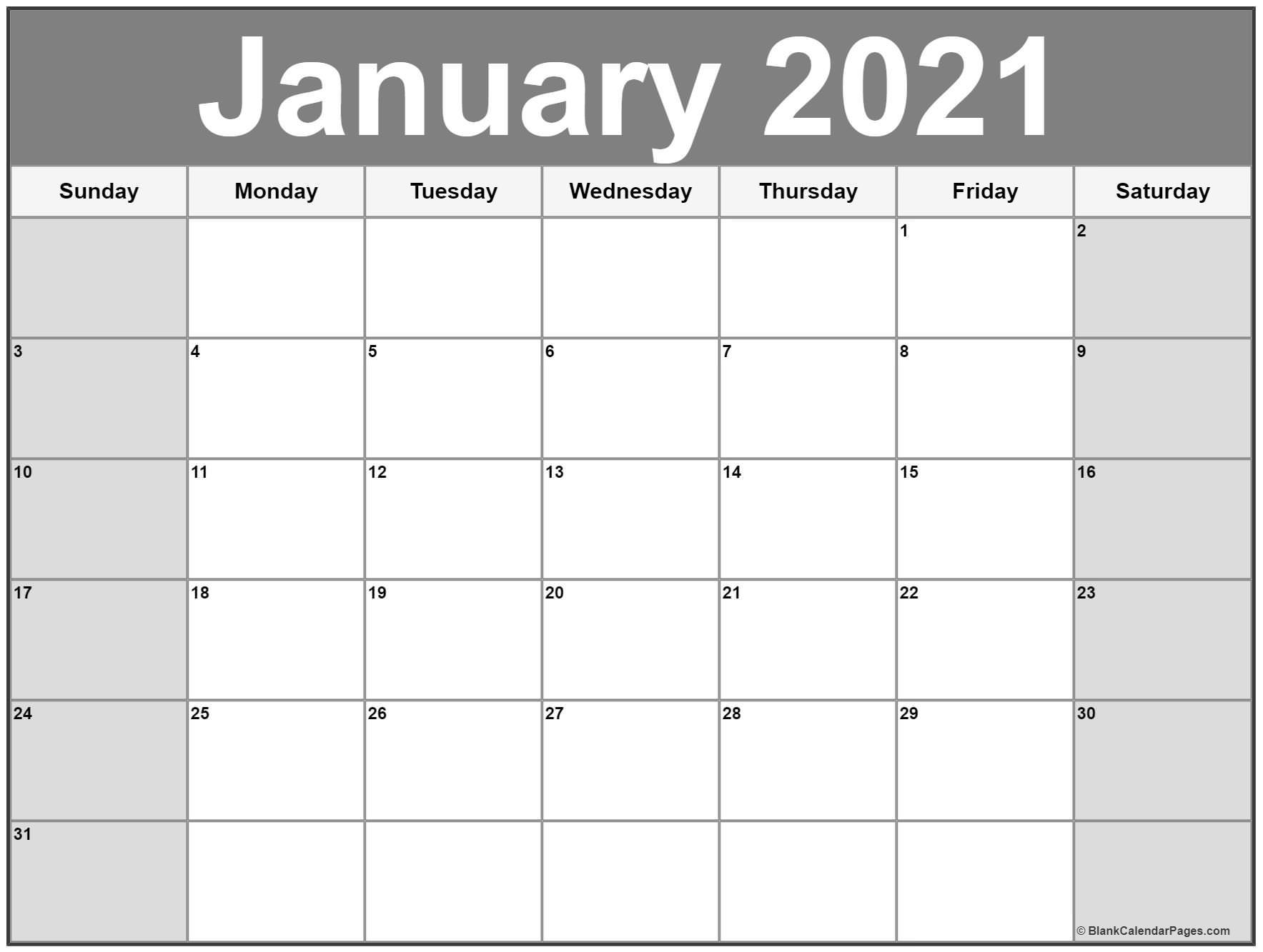 January 2021 Calendar Free Printable Monthly Calendars 3
