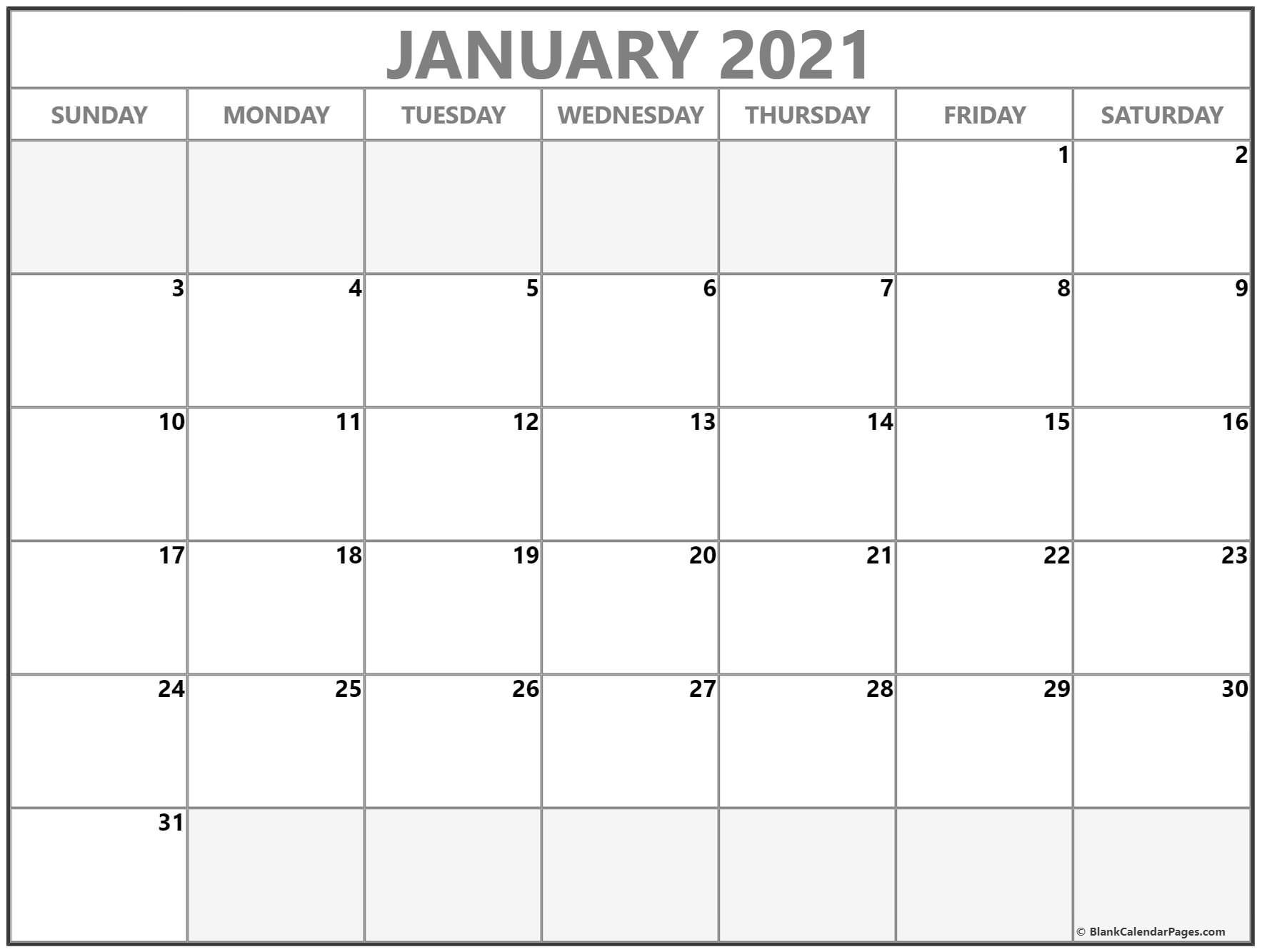 January 2021 Calendar Free Printable Monthly Calendars 5