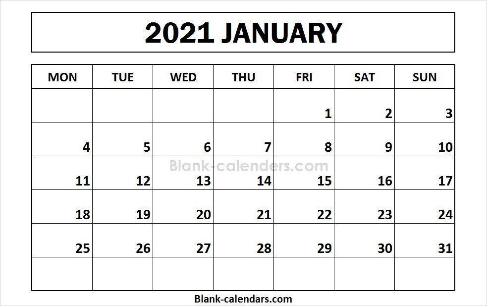 January 2021 Calendar Monday Start Calendar 2021