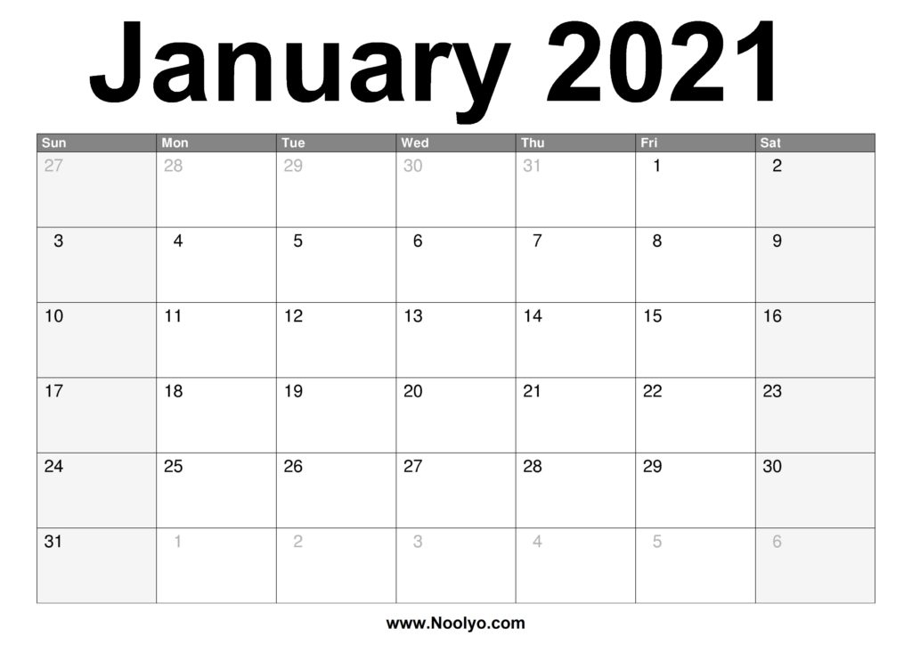 January 2021 Calendar Printable Free Download Noolyo