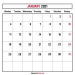 January 2021 Monthly Planner Calendar Printable Free