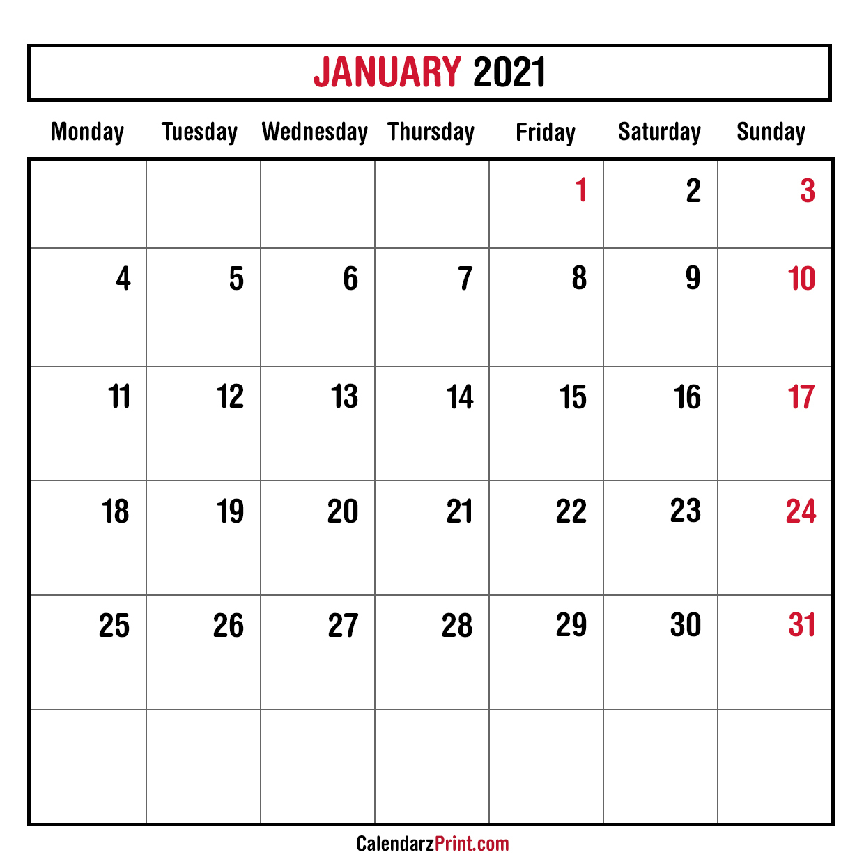 January 2021 Monthly Planner Calendar Printable Free