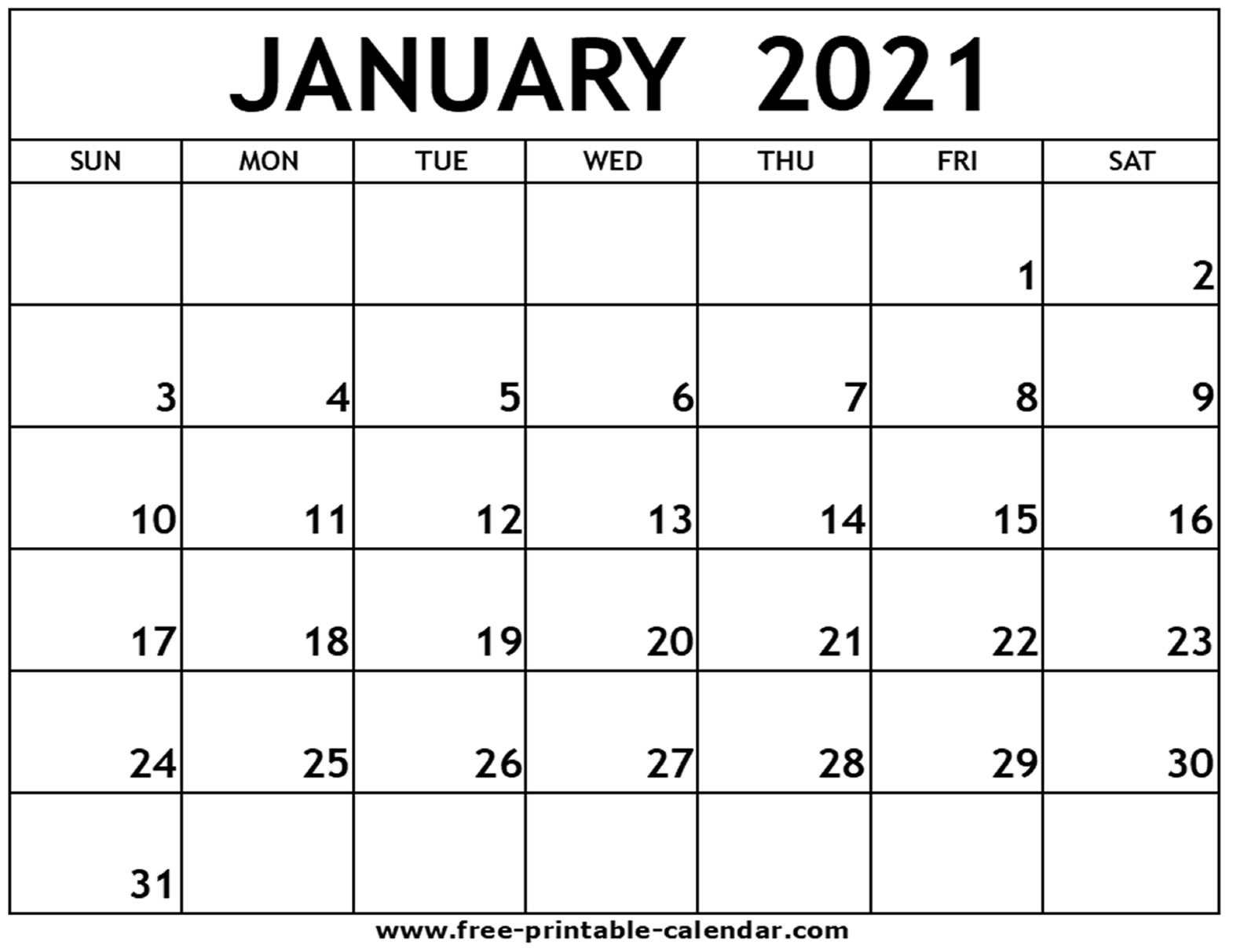 January 2021 Printable Calendar Free Printable Calendar