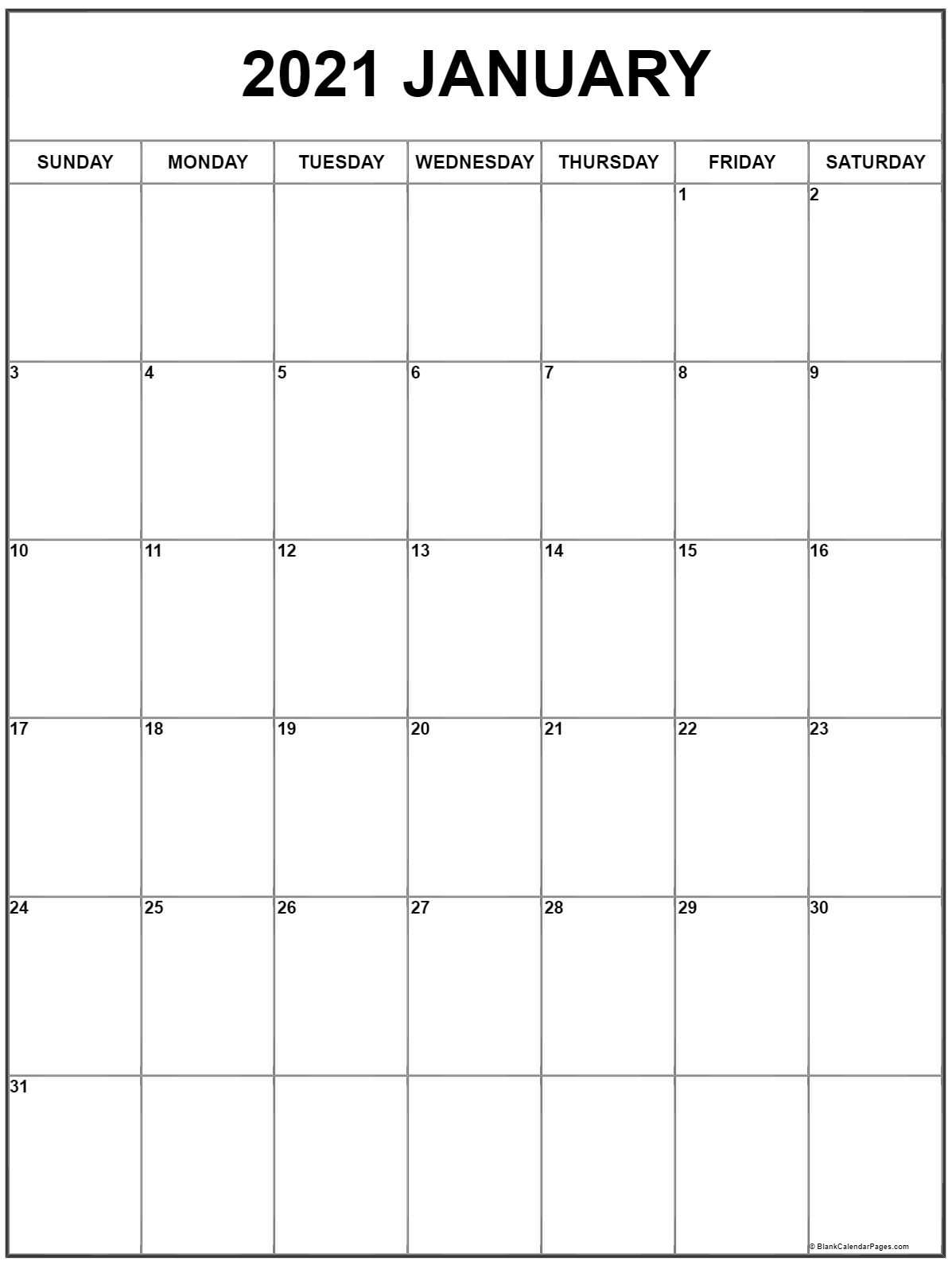 January 2021 Vertical Calendar Portrait
