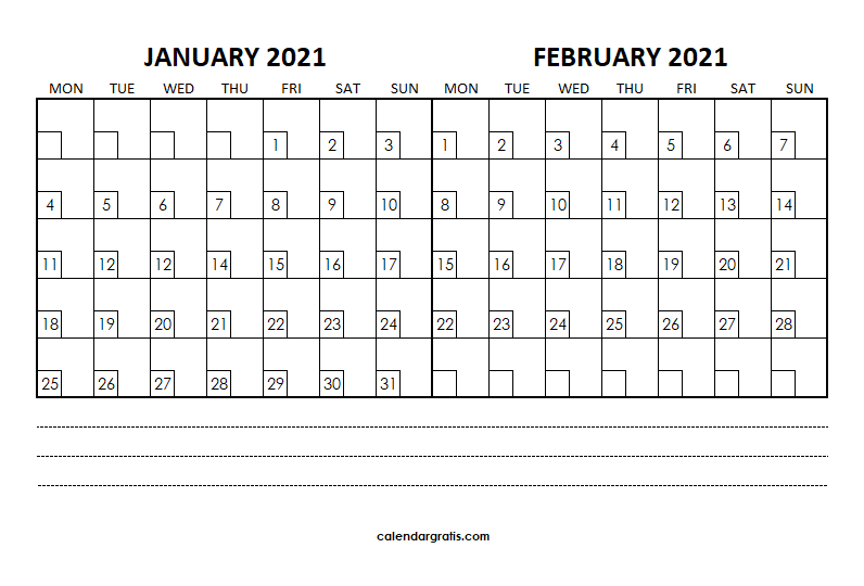 January February 2021 Calendar Holidays Template Two
