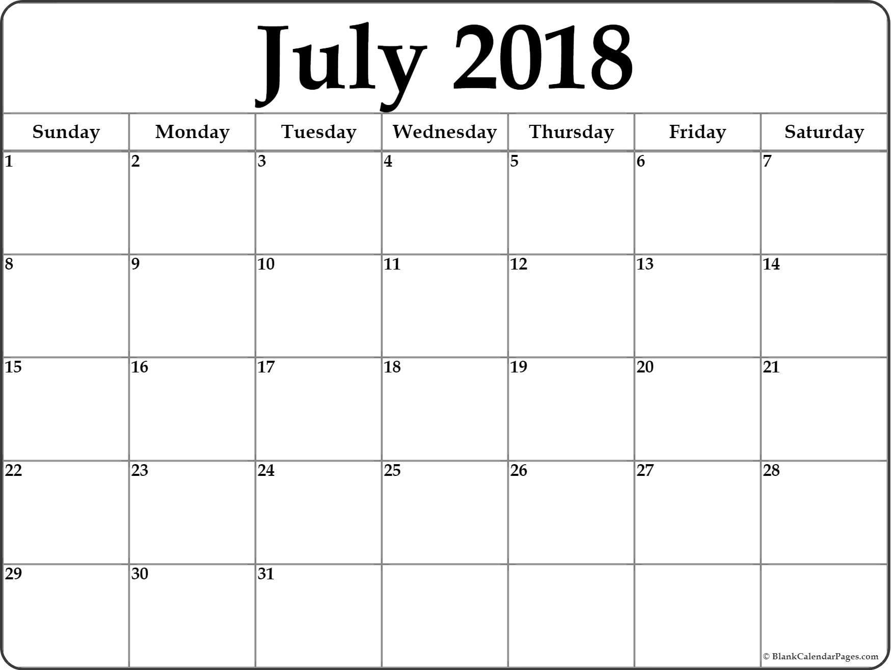 July 2018 Calendar Free Printable Monthly Calendars